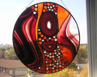 Stained Glass Panel|Stained Glass Window|Stained Glass with Agate|Round|Red|Orange|Abstract Stained Glass|Ooak|Handcrafted|Made in USA