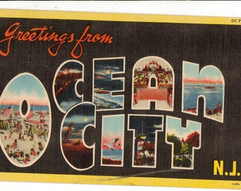 Linen postcard, Greetings from Ocean City, New Jersey, Beach, Ocean, Large Letter, 1947
