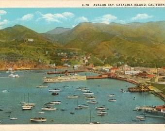 Linen Postcard, Catalina Island, California, Avalon Bay, ca 1935