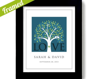 Unique Wedding Gift Framed Personalized Wedding Tree Love Birds Engagement Gift Bride and Groom For Couples Wall Art Print Bridal Shower