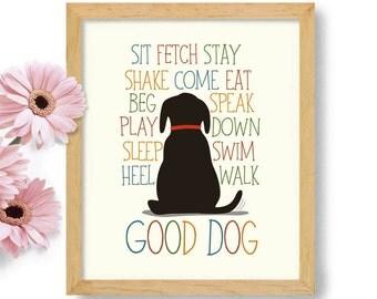 Dog Lover Gift Black Labrador Dog Art Labrador Retriever Yellow Lab Chocolate Lab Dog Commands Black Labrador Black Dog Family Dog Gift