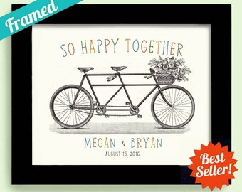 1st Anniversary Gift for Couples Bicycle Theme Unique Engagement Gift Framed Wedding Gift Decor Tandem Bicycle for Two Bride and Groom