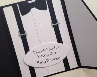 Suit card for wedding classic black and white Thank you ring bearer