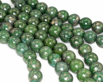 10mm Green Pyrite Inclusions Quartz Gemstone Round 10mm Loose Beads 7.5 inch Half Strand (90190668-352)