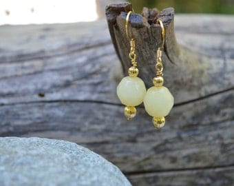 Yellow Faceted Stone Earrings