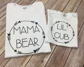 Mama Bear lil Cub baby Papa One Piece or Shirt (Custom Text Colors/Wording)