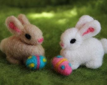 Easter Bunny, Needle Felted Bunny, Bunny with Easter Egg, Handmade, Waldorf Inspired