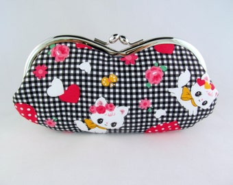 Kawaii Cat Soft Eyeglass Case - Eye Glass Case - Sunglasses Case - Cute Glasses Case - Sunglass Case - Glasses Case Kiss Lock