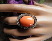 Coral and Diamond Panetta Ring.  Fun Simulated Stones.