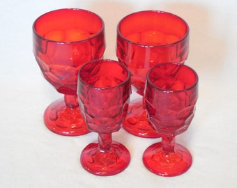 Ruby Red Viking Georgian Goblets