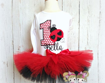 Birthday Ladybug Tutu Outfit- Red and Black- Custom Birthday Tutu Set- Embroidery Applique