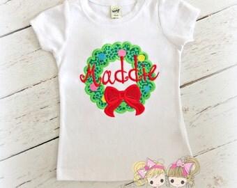 Girls Christmas shirt - Monogrammed Christmas shirt - Christmas wreath shirt - personalized holiday shirt - embroidered Christmas shirt