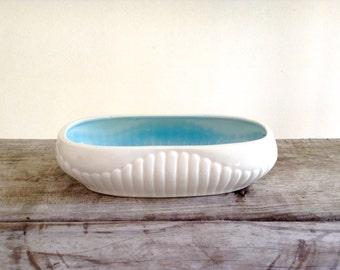Planter White Home Decor Basket Vase - Oblong 1950s White and Robins Egg Blue Planter - White and Blue Planters