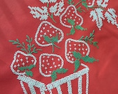 "Vintage Strawberry Tablecloth and Napkins -- Embroidered Tablecloth -- 34"" x 48"""