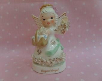 Adorable August Napco Angel Figurine -- 1950's Collectible Figurine -- Birthday Angel --Napco #A1368