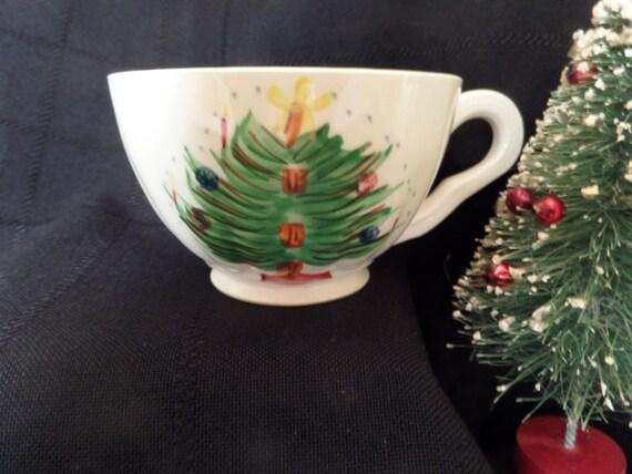 Vintage Blue Ridge Christmas Tree With Mistletoe Cup