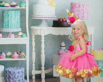 Pink and Gold Dress, First Birthday Dress, Toddler Girl Dress, Party Dress, Girl Twirl Dress, Baby Girl Dress, Sequin Dress, Birthday Hat