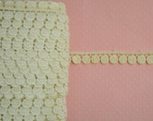 "Ivory Cotton Venice Lace. 3/8"" Width. Narrow Ivory Cotton Trim. 1 YARD."