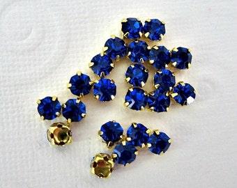Sale 4mm Dark Blue Sew on Rhinestones. Glass Rhinestones. 50 Pieces.