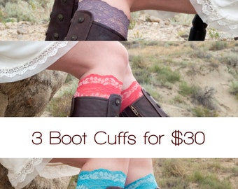 Womens Gift Set- 3 Pairs Lace Boot Cuffs for 30 ForgottenCotton Girlfriend Gift Wife Gift Ideas Gift for Her, Teen Gift, Gift Sets for Women