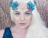 Teal elven crown - with silver or gold accents