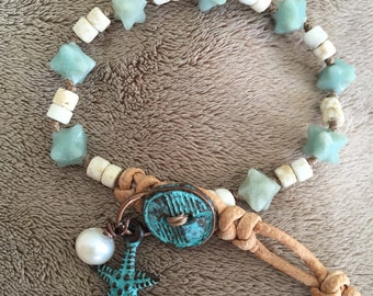 Amazonite and white Turquoise knotted leather bracelet with patina charms