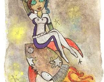 Alien Decor, UFO artwork, Alien pin up girl, unusual gifts, Space art, Whimsy art prints, watercolor wall decor, silver,daybreak art, alien