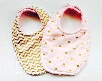 2 Baby Bibs Set of Two Triple Layer Super Absorbent bibs in Pink and Gold Hearts and Chevron for the heaviest of Droolers