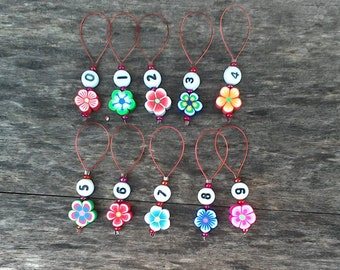 Fimo flower markers