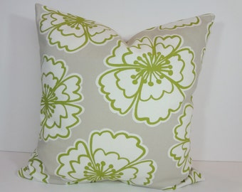 Snappy Poppy Designer Pillow Cover, P Kaufmann Fabrics Throw Cushion Cover, Apple Green, 18 x 18, 20 x 20