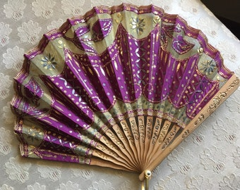 Lovely Victorian Silk and Mesh Spangled Wood Hand Fan