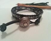 Double wrap, black leather bracelet, black vein jaspis, chic boho bracelet