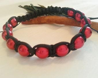 Macrame bracelet, shiny glass chic macrame bracelet, different colors