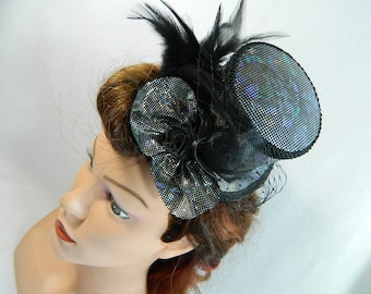 Minihat Silver Lamé discoball Gothic Cyber Burlesque clubbing Hat Millinery Tophat