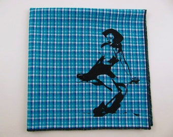 Hankie- COWGIRL shown on BLUE/AQUA super soft cotton hanky-or choose from white or any solid colors or plaids shown in pics