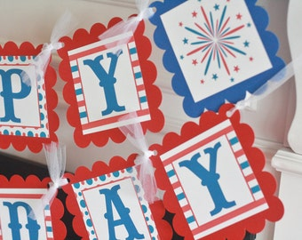 4th of July Pool Party Red White Blue Polka Dot Stripe FIreworks Summer Time Happy Birthday Theme Banner - Ask About Our Party Pack Special