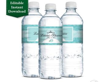Editable Instant Download - Turquoise Printable Personalized Bridal Shower Water Bottle Labels, Wedding Shower, Bridal Shower