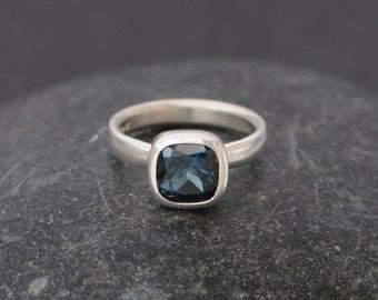 Blue Topaz Ring -  London Blue Topaz Ring - Blue Topaz Silver Ring - Ready to Ship Size 7 - Blue Topaz Cushion Cut Ring FREE SHIPPING