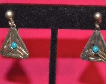Turquoise & Sterling silver earrings marked Texco, F Torres