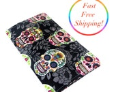 Day Of The Dead Checkbook Wallet, Checkbook Cover, Cash Checkbook, Womans Wallet, Checkbook Holder, Travel Wallet, Fabric Checkbook Cover,