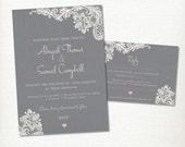 Grey Wedding Invitation, RSVP card set kit, Lace & linen, Engagement, Classic, Elegant, Simple, Vintage, Rustic, Romantic, Printable Digital