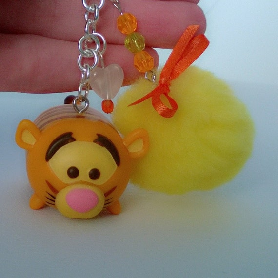 tigger tsum tsum pom pom keychain gift ooak small figurine toy. Black Bedroom Furniture Sets. Home Design Ideas