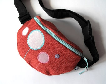 fanny pack/hip bag - red/brick, blue, lavender and rose (small size)