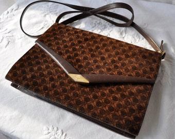 Vintage Ferragamo Shoulder Bag/Patterned Suede and Leather/Long Cross Body Strap