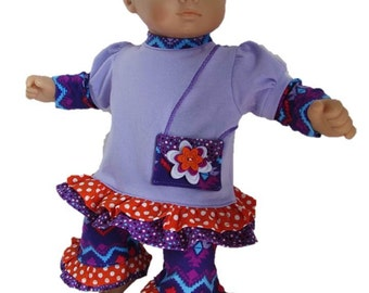 Ruffled Top and Pants Set Designed to Fit 15-Inch Baby Dolls such as Bitty Baby and Bitty Twins