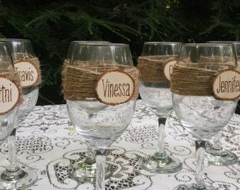 Rustic Wine Glasses, Rustic Wedding, Log Slice Wine Glass, Wedding Wine Glasses, Bridesmaid Wine Glasses, Bridesmaid Gift, Personalized Wine