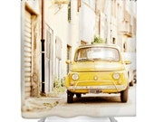 CIJ sale Shower Curtain, Car, Fiat 500, Yellow, Italy, Bathroom Decor, Bath Decoration, Photography, Photo, Spring, Boho Shower Curtain, Hom