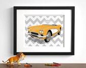 Childrens vintage car art - Chevy Corvette - wall art - pick your colors - boys art prints - nursery art