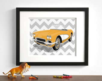 Childrens vintage car art - Chevy Corvette - wall art - pick your colors - boys art prints - nursery art