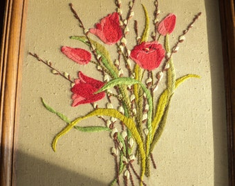 Vintage  Embroidered Floral Bouquet of Red Tulips and Pussy Willow Blooms, Hand Sewn Still Life on brown linen background in Good Condition